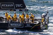 FRANCE, Lorient. 1st July 2012. Volvo Ocean Race, Start Leg 9 Lorient-Galway. Knut Frostad, CEO Volvo Ocean Race prepares to jump from Abu Dhabi Ocean Racing.