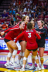 BLOOMINGTON, IL - September 14: Redbird celebration during a college Women's volleyball match between the ISU Redbirds and the University of Central Florida (UCF) Knights on September 14 2019 at Illinois State University in Normal, IL. (Photo by Alan Look)