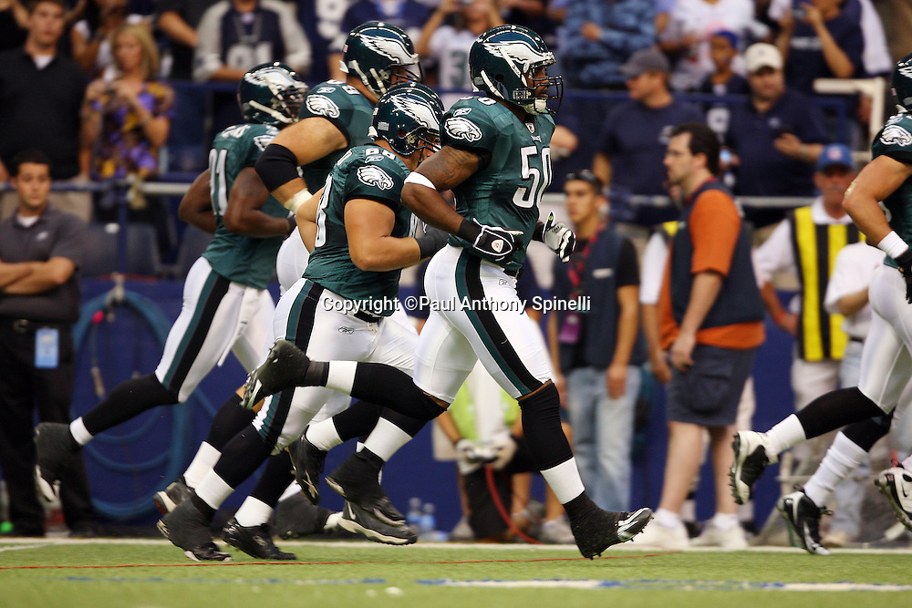 IRVING, TX - SEPTEMBER 15:  Members of the Philadelphia Eagles run onto the field before the game against the Dallas Cowboys at Texas Stadium on September 15, 2008 in Irving, Texas. The Cowboys defeated the Eagles 41-37. ©Paul Anthony Spinelli