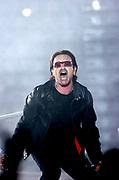 U2 at the Millennium Stadium in Cardiff, June 29 2005.   Pictured: Lead singer Bono