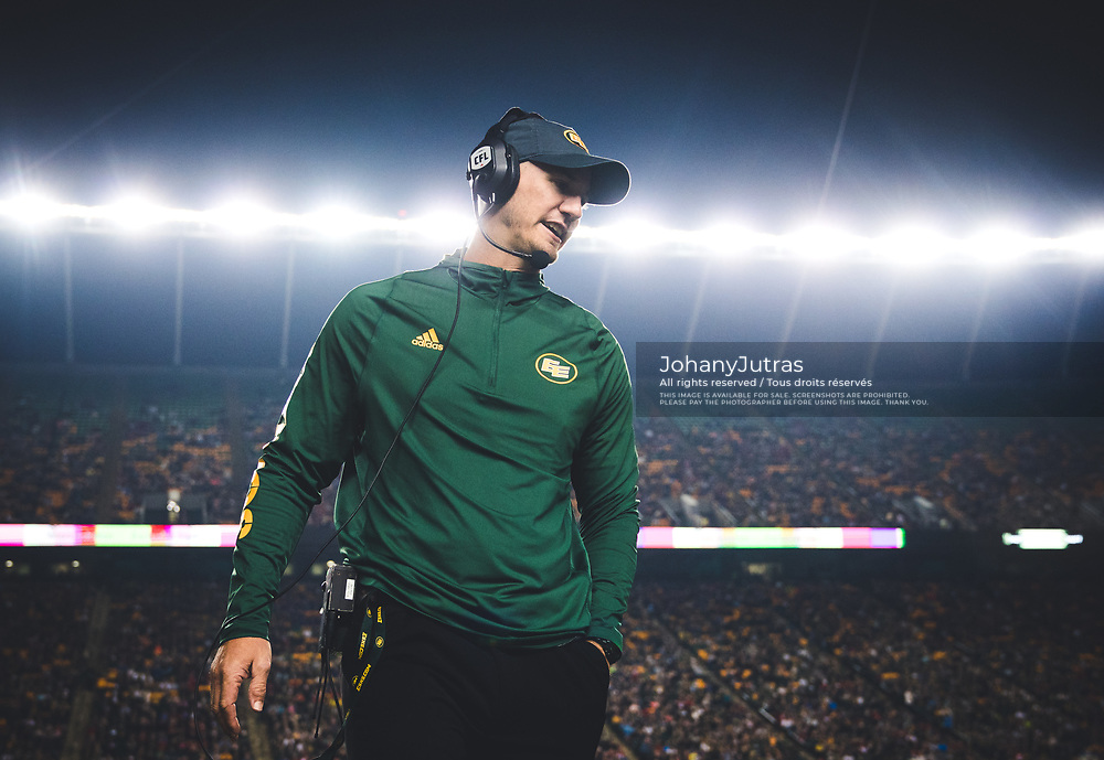 Edmonton Eskimos head coach Jason Maas during the game against the Calgary Stampeders at Commonwealth Stadium in Edmonton AB, Saturday, September 9, 2017. (Photo: Johany Jutras)