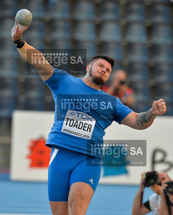 BYDGOSZCZ, POLAND - JULY 19: Andrei Toader of Romania in the final of the mens shot put during the afternoon session on day 1 of the IAAF World Junior Championships at Zawisza Stadium on July 19, 2016 in Bydgoszcz, Poland. (Photo by Roger Sedres/Gallo Images)