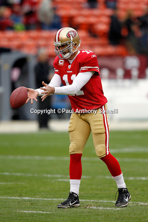San Francisco 49ers quarterback Alex Smith (11) catches a shotgun snap during the NFL week 17 football game against the Arizona Cardinals on Sunday, January 2, 2011 in San Francisco, California. The 49ers won the game 38-7. (©Paul Anthony Spinelli)