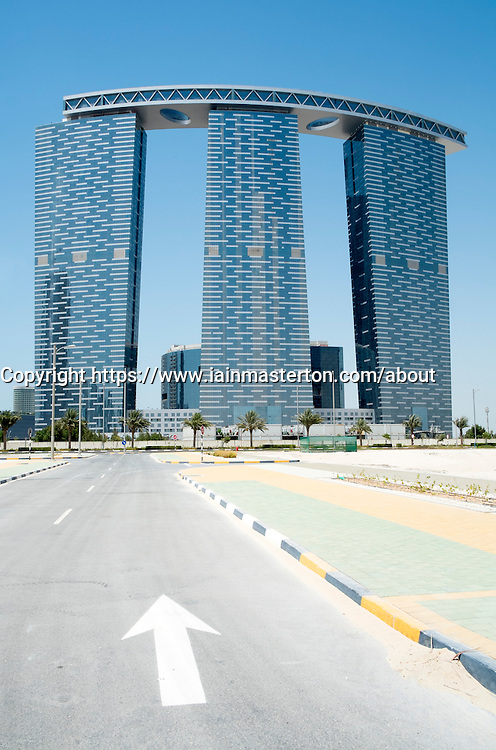 THE GATE high rise towers under construction at new business and residential district on Al Reem Island in Abu Dhabi United Arab Emirates