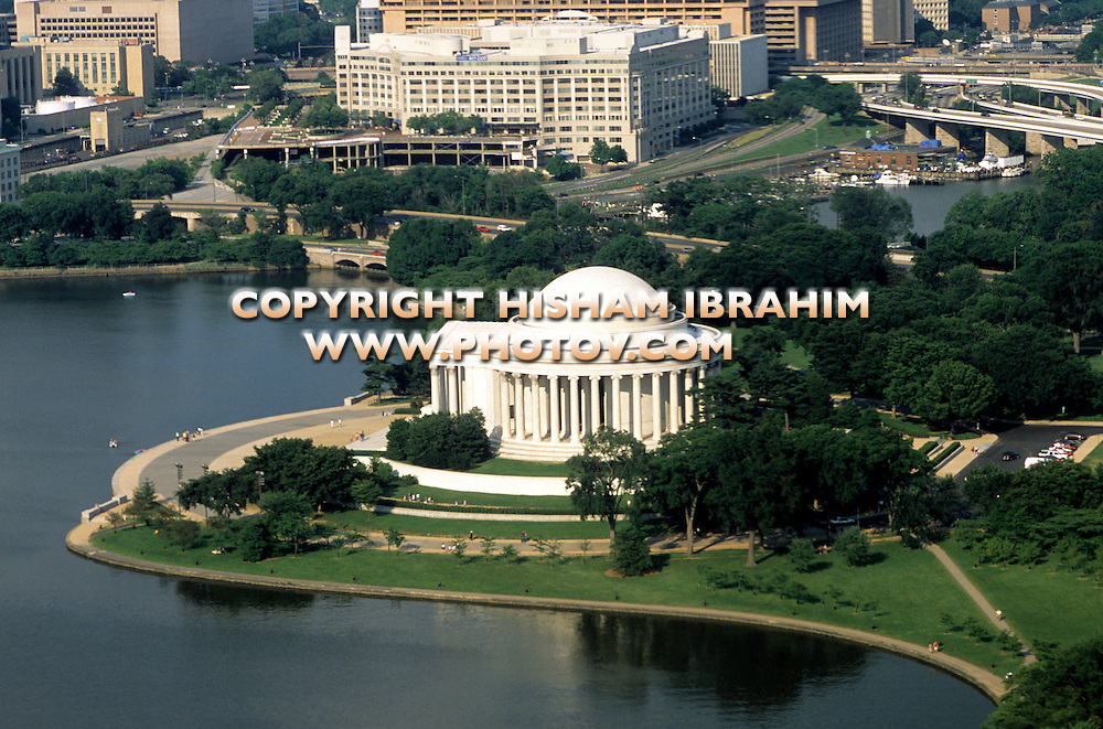 Aerial Vew of Jefferson Memorial and The Tidal Basin, Washington DC, USA