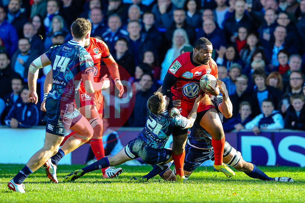 Toulon Flanker (#7) Steffon Armitage is tackled by Cardiff replacement (#21) Lewis Jones during the second half of the match - Photo mandatory by-line: Rogan Thomson/JMP - Tel: Mobile: 07966 386802 21/10/2012 - SPORT - RUGBY - Cardiff Arms Park - Cardiff. Cardiff Blues v Toulon (RC Toulonnais) - Heineken Cup Round 2