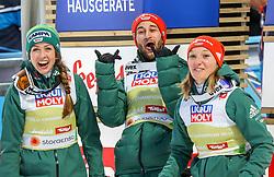 02.03.2019, Seefeld, AUT, FIS Weltmeisterschaften Ski Nordisch, Seefeld 2019, Skisprung, Mixed Team Bewerb, im Bild v.l. Katharina Althaus (GER), Markus Eisenbichler (GER), Juliane Seyfarth (GER) // f.l. Katharina Althaus of Germany Markus Eisenbichler of Germany Juliane Seyfarth of Germany during the mixed team competition in ski jumping of nordic combination of FIS Nordic Ski World Championships 2019. Seefeld, Austria on 2019/03/02. EXPA Pictures © 2019, PhotoCredit: EXPA/ JFK