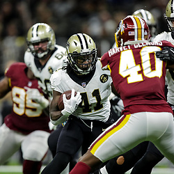 Oct 8, 2018; New Orleans, LA, USA New Orleans Saints running back Alvin Kamara (41) against the Washington Redskins during the fourth quarter at the Mercedes-Benz Superdome. The Saints defeated the Redskins 43-19.