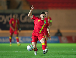 LLANELLI, WALES - Wednesday, August 15, 2012: Wales' Andrew Crofts in action against Bosnia-Herzegovina during the international friendly match at Parc y Scarlets. (Pic by David Rawcliffe/Propaganda)