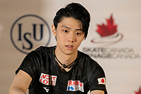 KELOWNA, BC - OCTOBER 26: Men's gold medalist, Yuzuru Hanyu of Japan speaks to media during a press conference at Prospera Place on October 25, 2019 in Kelowna, Canada. (Photo by Marissa Baecker/Shoot the Breeze)