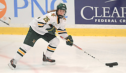 PITTSBURGH, PA - OCTOBER 15:  Ève-Audrey Picard #26 of the Vermont Catamounts skates with the puck in the first period during the game against the Robert Morris Colonials at 84 Lumber Arena on October 15, 2016 in Pittsburgh, Pennsylvania. (Photo by Justin Berl)