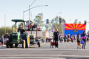 28 JANUARY 2012 - BUCKEYE, AZ:    Participants in the Buckeye Days parade. The Buckeye Days parade went through downtown Buckeye, AZ, an agricultural community about 45 miles west of Phoenix. The parade was one the first events to mark Arizona's centennial celebration. Arizona was admitted to the United States on Feb 14, 1912, making it the 48th state in the union. The state celebrates its 100th birthday with a series of events on Feb. 14, 2012.     PHOTO BY JACK KURTZ