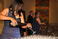 Tambara Hamilton of Beavercreek fills glasses with champagne for patrons about to arrive as Derek and Kristen Maddox of Dayton get ready to 'people watch' during the 56th Art Ball, 'Art is in the Air', at the Dayton Art Institute, Saturday, June 8, 2013.