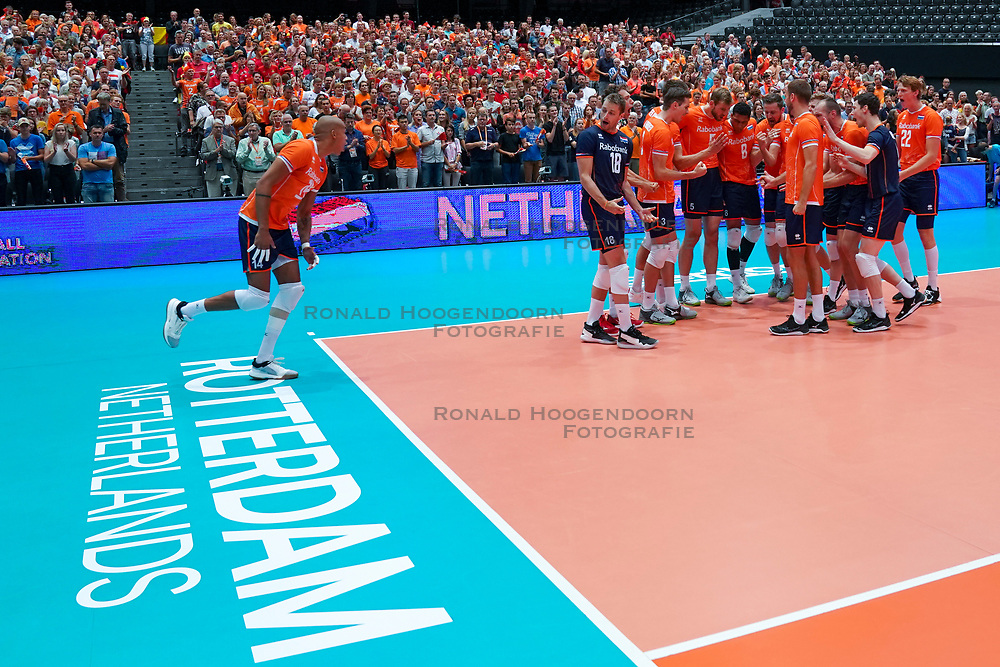 10-08-2019 NED: FIVB Tokyo Volleyball Qualification 2019 / Belgium - Netherlands, Rotterdam<br /> Third match pool B in hall Ahoy between Belgium vs. Netherlands (0-3) for one Olympic ticket / Team Netherlands