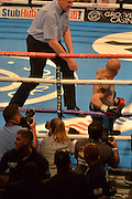 Kiko martinez getsw counted out after a barrage from Scott Quigg during the High Stakes Matchroom Boxing at the Manchester Arena, Manchester, United Kingdom on 18 July 2015. Photo by Mark Pollitt.