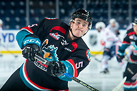 KELOWNA, CANADA - SEPTEMBER 22:  Cayde Augustine #5 of the Kelowna Rockets warms up against the Kamloops Blazers on September 22, 2018 at Prospera Place in Kelowna, British Columbia, Canada.  (Photo by Marissa Baecker/Shoot the Breeze)  *** Local Caption ***