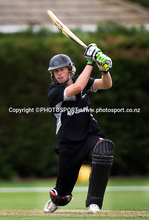 New Zealand's Harry Boam during his innings. New Zealand v Canada, U19 Cricket World Cup group stage match, Lincoln #3, Saturday 16 January 2010. Photo : Joseph Johnson/PHOTOSPORT