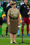 MELBOURNE, VIC - NOVEMBER 09: Army member sing the Australian national anthem before the match at the Hyundai A-League Round 4 soccer match between Melbourne City FC and Wellington Phoenix on November 09, 2018 at AAMI Park in Melbourne, Australia. (Photo by Speed Media/Icon Sportswire)