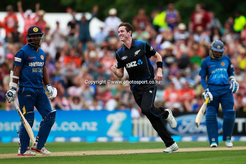 Adam Milne of the Black Caps celebrates the wicket of Kumar Sangakkara of Sri Lanka during the first ODI between the Black Caps v Sri Lanka at Hagley Oval, Christchurch. 11 January 2015 Photo: Joseph Johnson / www.photosport.co.nz