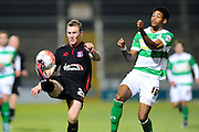 Carlisle Utd's Mark Ellis and Yeovil Town's Shaun Jeffers during the The FA Cup Third Round Replay match between Yeovil Town and Carlisle United at Huish Park, Yeovil, England on 19 January 2016. Photo by Graham Hunt.