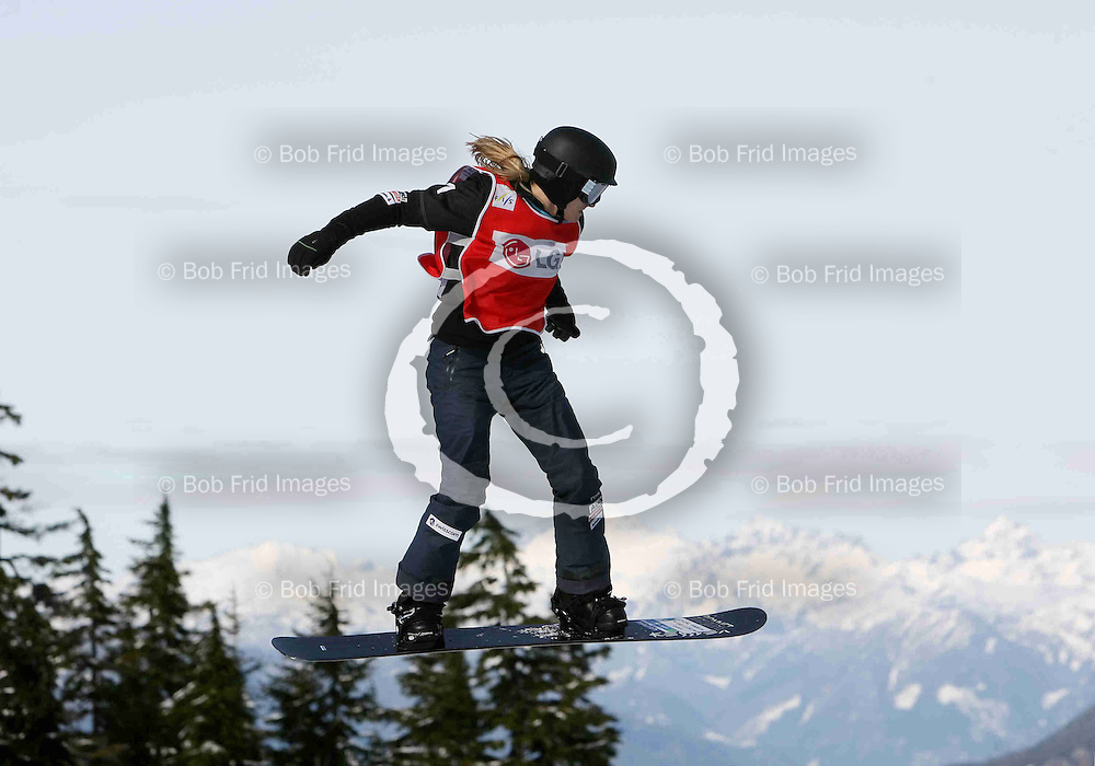 13 February 2009: Women's Snowboard-Cross - Heat 1 - Silver medalist Olivia Nobs (SUI) competes in the quarter-finals at the 2009 LG Snowboard World Cup held at Cypress Mountain in West Vancouver, British Columbia, Canada.   ****Editorial Use Only****