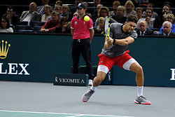 October 30, 2018 - Paris, France - French player JOE WILFRIED TSONGA returns the ball to Canadian player MILOS RAONIC during the tournament Rolex Paris Master at Paris AccorHotel Arena Stadium in Paris France..Milos Raonic won 6-7 7-6 7-6 (Credit Image: © Pierre Stevenin/ZUMA Wire)