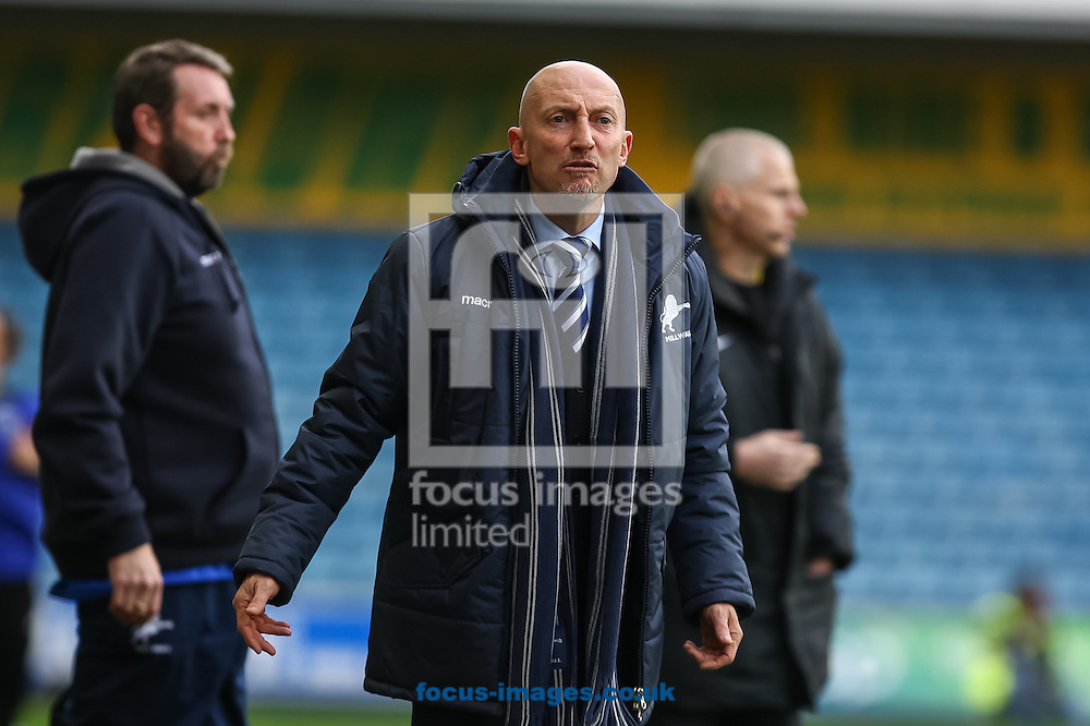 Picture by Daniel Chesterton/Focus Images Ltd +44 7966 018899<br /> 18/01/2014<br /> Millwall manager Ian Holloway gestures angrily at the assistant referee during the Sky Bet Championship match at The Den, London.