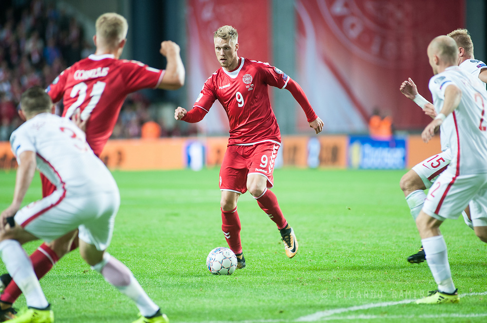 01.09.2017. Copenhagen, Denmark. <br /> Nicolai Jorgensen (9) of Denmark during the FIFA 2018 World Cup Qualifier between Denmark and Poland at Parken Stadion.<br /> Photo: © Ricardo Ramirez.