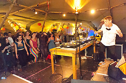 © Licensed to London News Pictures. 30/05/2016. Hay-on-Wye, Powys, Wales, UK. DJ Gilles Peterson MBE and Sony Gold Award winner performs to a full house on the fifth day of 'HowTheLightGetsIn' Festival of Ideas - The philosophy and music festival at Hay-on-Wye, Wales, UK. HowTheLightGetsIn festival was founded by post-realist philosopher and director of the Institute of Art and Ideas, Hilary Lawson. Photo credit: Graham M. Lawrence/LNP