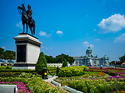 21 FEBRUARY 2018 - BANGKOK, THAILAND: The Equestrian Statue of King Chulalongkorn with the Ananta Samakhom Throne Hall in the background.     PHOTO BY JACK KURTZ