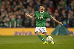 November 15, 2018 - Dublin, Ireland - Robbie Brady of Ireland takes the free kick during the International Friendly match between Republic of Ireland and Northern Ireland at Aviva Stadium in Dublin, Ireland on November 15, 2018  (Credit Image: © Andrew Surma/NurPhoto via ZUMA Press)