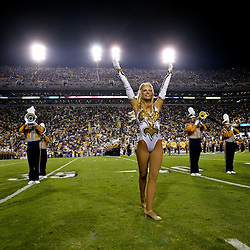 November 13, 2010; Baton Rouge, LA, USA; A general view from the field as the LSU Golden Girls dance team perform with the band prior to kickoff of a game between the LSU Tigers and the Louisiana Monroe Warhawks at Tiger Stadium. LSU defeated Louisiana-Monroe 51-0.  Mandatory Credit: Derick E. Hingle