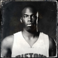 Sep 29, 2014; Auburn Hills, MI, USA;  (Editor's Note: Photo was post-processed creating a digital tintype) Detroit Pistons guard Jodie Meeks (20) during media day at the Pistons practice facility. Mandatory Credit: Rick Osentoski-USA TODAY Sports