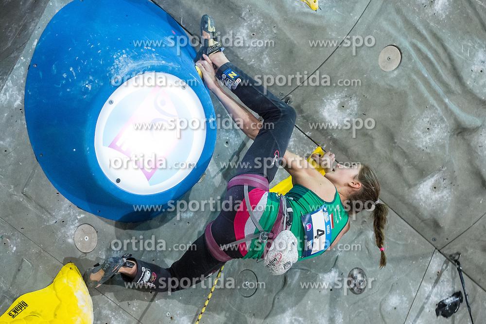 Jessica PILZ of Austria during women final competition of IFSC Climbing World Cup Kranj 2015, on November 15, 2015 in Arena Zlato Polje, Kranj, Slovenia. (Photo By Grega Valancic / Sportida.com)
