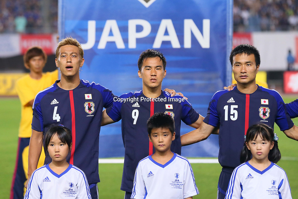 (L-R) Keisuke Honda, Shinji Okazaki, Yasuyuki Konno (JPN), AUGUST 14, 2013 - Football / Soccer : <br /> KIRIN Challenge Cup 2013 match <br /> between Japan 2-4 Uruguay <br /> at Miyagi Stadium, Miyagi, Japan.<br />  (Photo by AFLO SPORT)