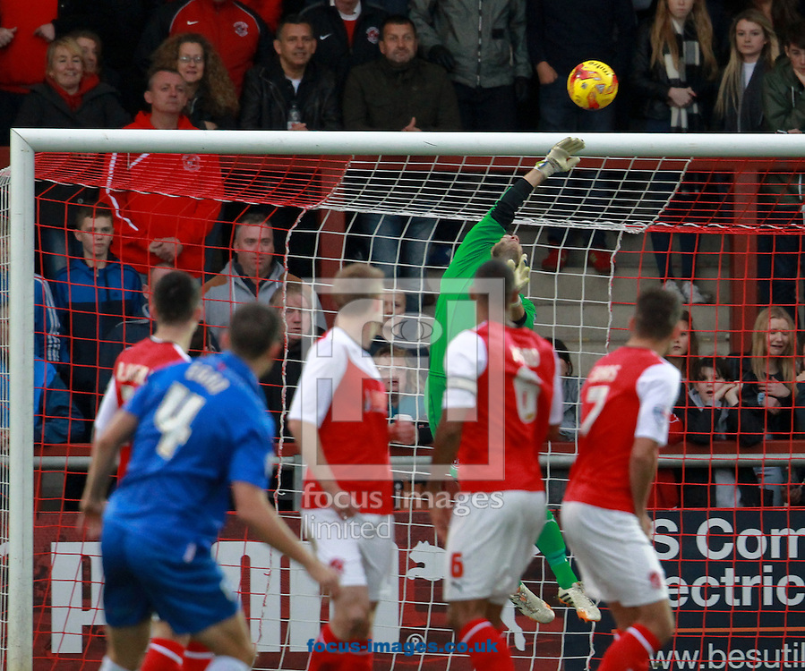 Chris Maxwell of Fleetwood Town turns a free kick over the bar during the Sky Bet League 1 match at the Highbury Stadium, Fleetwood<br /> Picture by John Rainford/Focus Images Ltd +44 7506 538356<br /> 01/11/2014