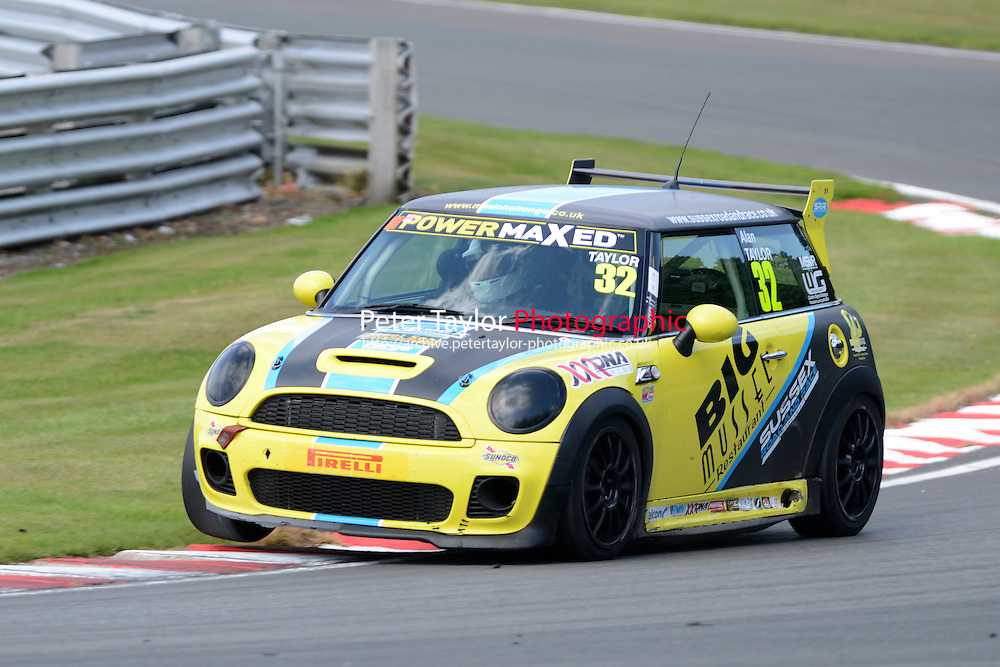 #32 Alan Taylor Mini JWC during Power Maxed Mini Challenge - F56/JCW - Race 1 as part of the Mini Festival  at Oulton Park, Little Budworth, Cheshire, United Kingdom. August 08 2015. World Copyright Peter Taylor. Copy of publication required for printed pictures.  Every used picture is fee-liable. http://archive.petertaylor-photographic.co.uk