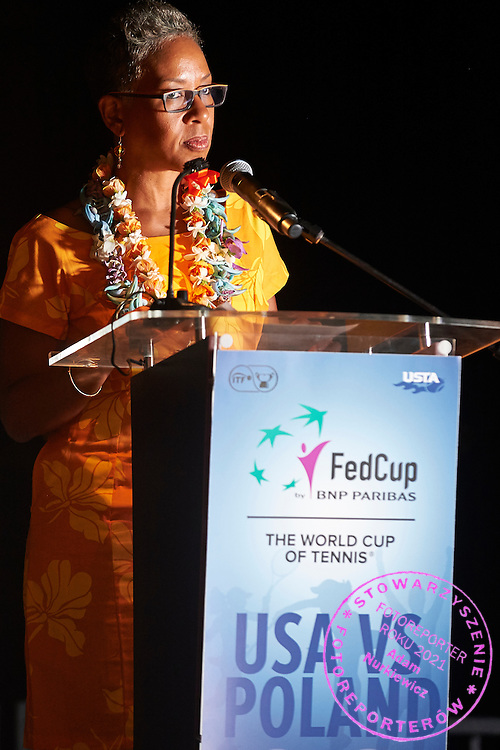 KAILUA KONA, USA - 2016 FEBRUARY 04: Katrina Adams former tennis player USTA President speaks while official dinner on two days before the Fed Cup World Group II 1st round tennis match between USA and Poland on February 04, 2016 at Holua Tennis Center in Kailua Kona, USA.<br /> <br /> Picture also available in RAW (NEF) or TIFF format on special request.<br /> <br /> Any editorial, commercial or promotional use requires written permission from the author of image.<br /> <br /> Adam Nurkiewicz declares that he has no rights to the image of people at the photographs of his authorship.<br /> <br /> Mandatory credit:<br /> Photo by &copy; Adam Nurkiewicz / Mediasport