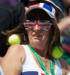 LONDON, ENGLAND - Wednesday, July 2, 2014: A British fan during the Ladies' Singles Quarter-Final match on day nine of the Wimbledon Lawn Tennis Championships at the All England Lawn Tennis and Croquet Club. (Pic by David Rawcliffe/Propaganda)