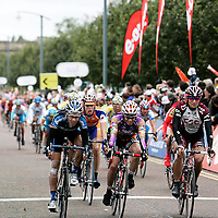 Cyclists make for the finish line as the Tour of Britain cycle race finishes at Glasgow Green.
