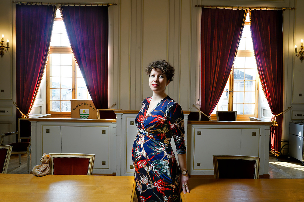 Carmen Tanner (premier membre d'un exécutif vaudois à prendre un congé maternité). Février 2019