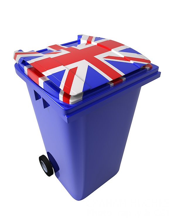 Union jack flag wheelie bin.