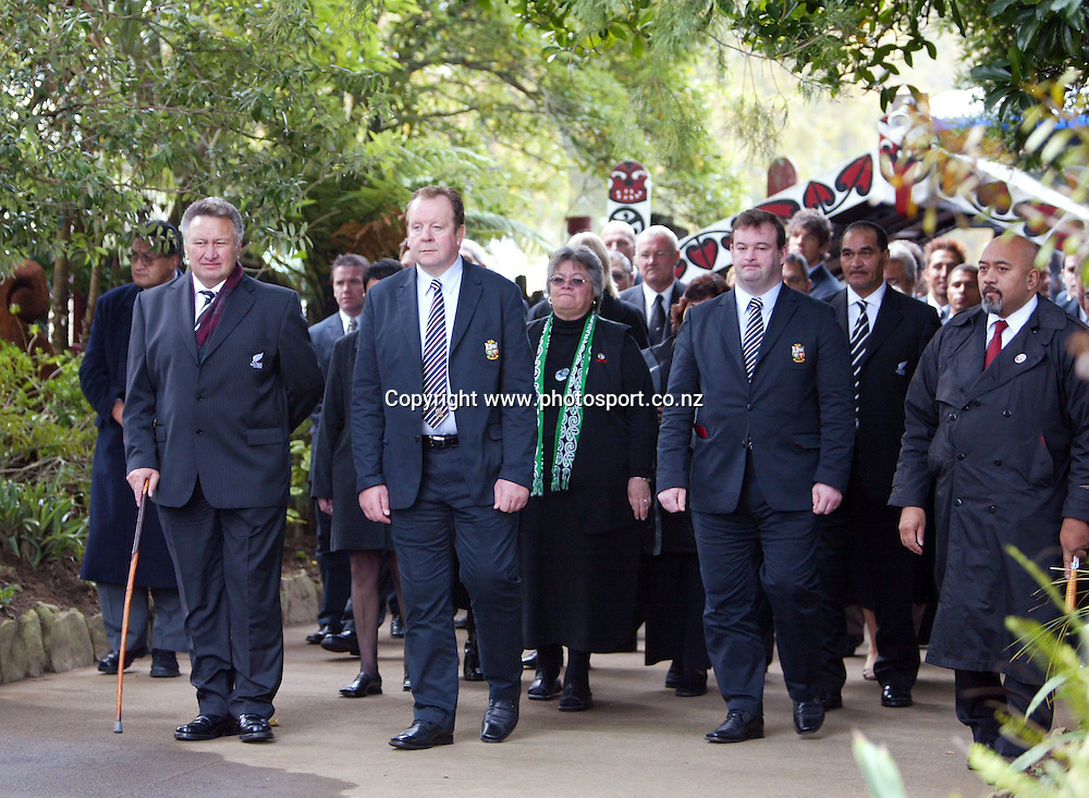 Lions team manager Bill Beaumont leads the team onto the Taurangawaewae Marae in Ngaruawahia, New Zealand on Saturday June 11, 2005. The Lions play the NZ Maori team tonight in Hamilton. Photo: Hannah Johnston/PHOTOSPORT