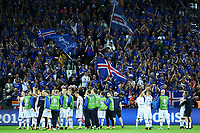 Iceland players celebrate with fans Esultanza fine partita Islanda <br /> Saint-Etienne 14-06-2016 Stadium Geoffroy-Guichard Football Euro2016 Portugal-Iceland / Portogallo-Islanda Group Stage Group F<br /> Foto Massimo Insabato / Insidefoto