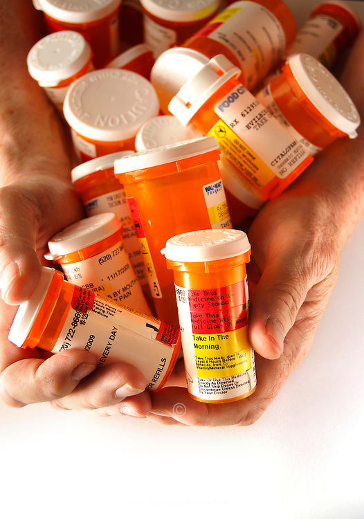 Medications taken by a chronically ill patient.
