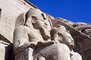 20 metre statues of Rameses II, ruler  of Egypt c1304-1273 BC, in front of main temple, Abu Simbel.