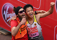 Yap Tien-Fung GER celebrates with his guide runner Max Kirschbaum after competing in the T12 Men World Para Athletics Marathon Championships. The Virgin Money London Marathon, 28 April 2019.<br /> <br /> Photo: Joe Toth for Virgin Money London Marathon<br /> <br /> For further information: media@londonmarathonevents.co.uk