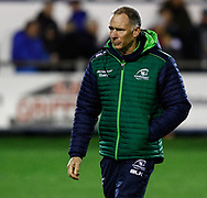 Head Coach Andy Friend of Connacht during the pre match warm up<br /> <br /> Photographer Simon King/Replay Images<br /> <br /> Guinness PRO14 Round 7 - Ospreys v Connacht - Friday 26th October 2018 - The Brewery Field - Bridgend<br /> <br /> World Copyright © Replay Images . All rights reserved. info@replayimages.co.uk - http://replayimages.co.uk