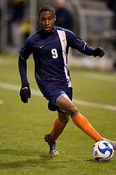 Virginia forward Matt Mitchell (9) against WVU.  The West Virginia Mountaineers defeated the Virginia Cavaliers 1-0 in the second round of the 2007 NCAA Men's Soccer Tournament at Dick Dlesk Stadium in Morgantown, WV on November 28, 2007.