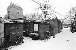 Winter snow in a Beijing hutong next to the historic Drum Tower